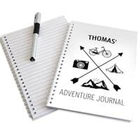Personalised Adventure Hardback A5 Notebook - Ideal gift for Retirement, Travelling, Round the World, New Baby, New Parent